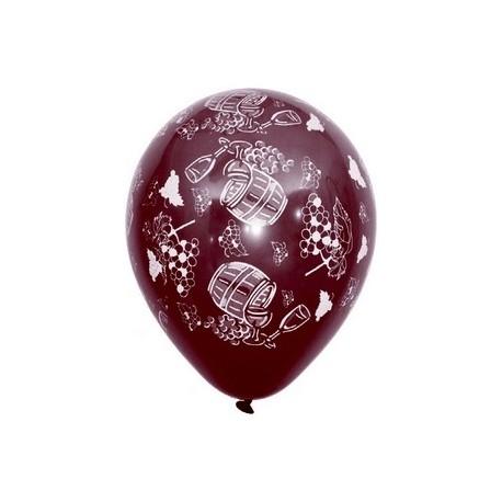 """Ballons multicolores motif """" Vin nouveau""""  pochette de 8 - Diam. 29cm"""