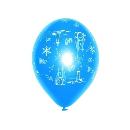 "Ballons multicolores motif ""Mer""  pochette de 8 - Diam. 29cm"