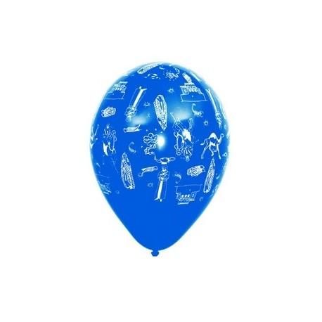 """Ballons multicolores motif """"Mille et une nuit""""  pochette de 8 - Diam. 29cm"""