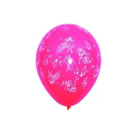 """Ballons multicolores motif """" Terroir""""  pochette de 8 - Diam. 29cm"""