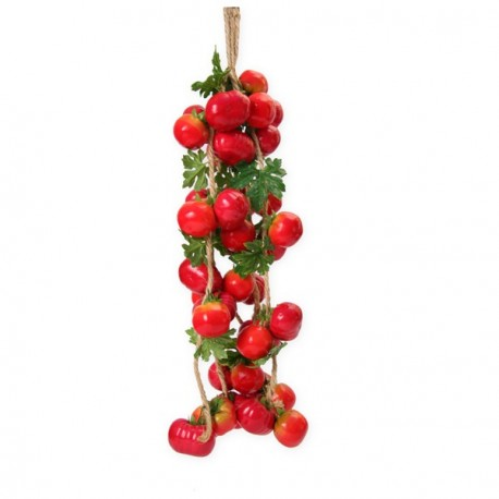 tomates - tresse x 5 - polystyrène/corde - Long. 70cm
