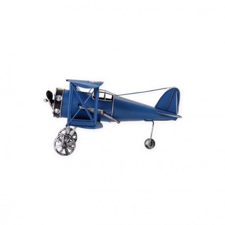 Avion bleu en métal 26 x 30 x 14 cm