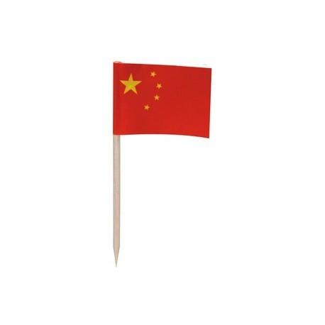 Drapeaux mini  Chine x 144 -papier-3.5 x 2.5 cm (pic en bois de 6.5 cm)