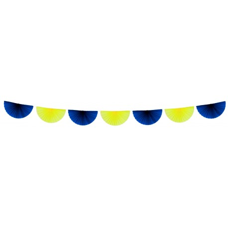 Guirlande de 7 éventails bleu/jaune 3 m