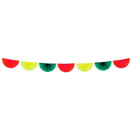 Guirlande de 7 éventais rouge/jaune /vert  - papier - 3 m