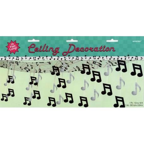 Plafonnier notes de musique (noir et blanc) - plastique - 370 x 30 cm