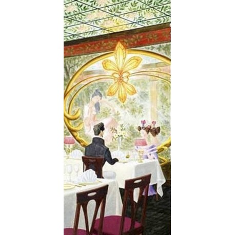 Kakémono Art Déco  + support - papier - 200 x 85 cm