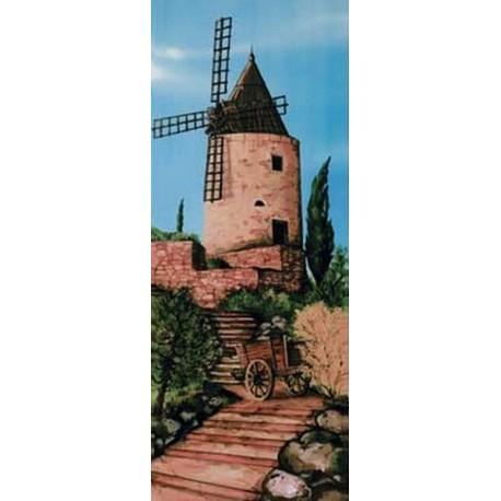 Kakemono moulin d'Alphonse Daudet - tissu - H. 180 x  75 cm