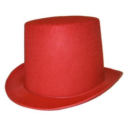 Chapeau haut de forme rouge - feutre - taille adulte