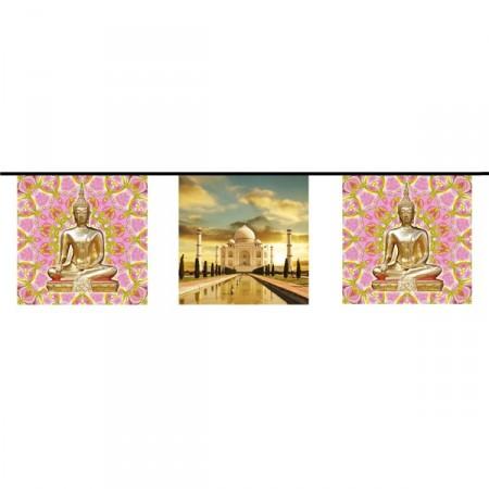 Guirlande visuel Inde  - 10 fanions 21 x 21 cm - papier - Long.420cm