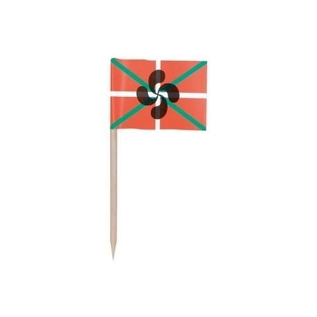 Sachet de 144 minis drapeaux Basque -papier-3.5 x 2.5 cm (pic en bois de 6.5 cm)