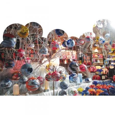 Panoramique Marché de Noel  boules 80 x 53 cm recto verso PVC M1*