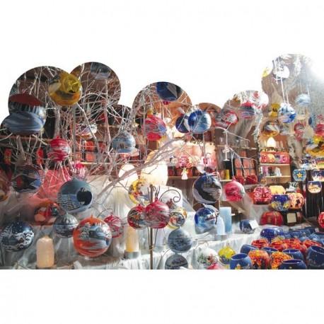 """Panoramique """"Marché de Noel"""" """" boules"""" 80 x 53 cm recto verso PVC M1"""