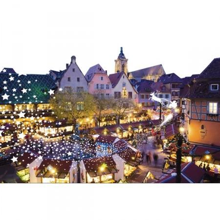 Panoramique Marché de Noel Place de village 80 x 53 cm PVC M1*