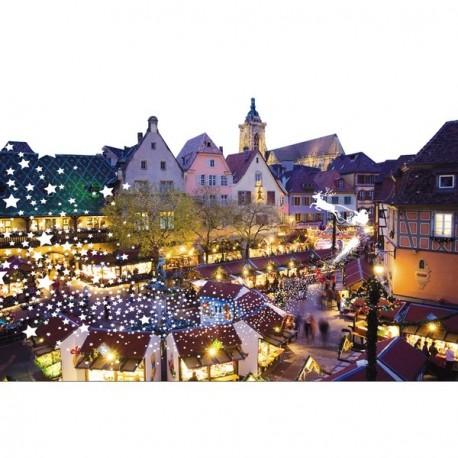 """Panoramique """"Marché de Noel"""" """"Place de village 80 x 53 cm PVC M1"""