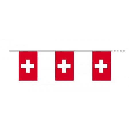 Guirlande Suisse - 12 fanions en tissu de 15 x 21 cm - long: 450 cm