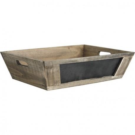 Caisse bois vieilli avec tableau noir  35 x 25 x 9 cm