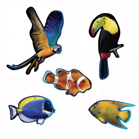Mobiles oiseaux x 2 et  poissons exotiques x 3 - carton
