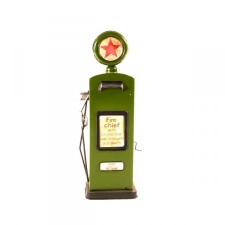 Pompe à essence verte - métal  - H. 41cm