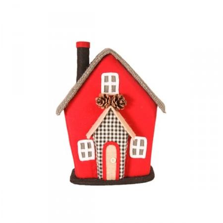 Maison de poupées rouge et gris 23x17xh29 cm