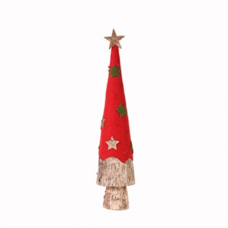 sapin conique rouge/vert naturel diam:11x h:49 cm