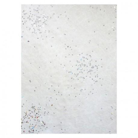 Bande de tissu intissé blanche avec perles argent Voie Lactée  30 cm x 5m
