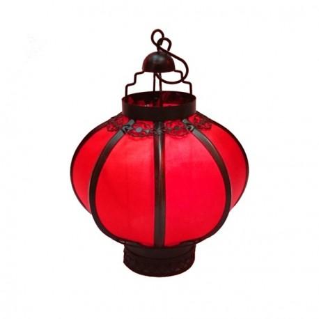 Lanterne rouge avec bougie électronique - Métal / Tissu - Haut 25cm, diam 15cm