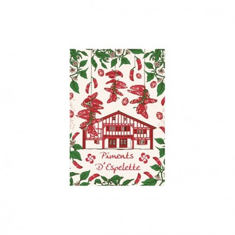 Tissu Imprimé  Piments d'Espelette - Coton - 48 x 72 cm