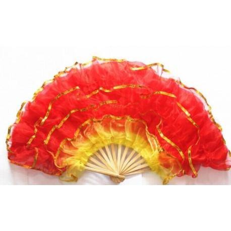 Eventail Frou Frou de danse Espagnole avec support - Tissu / Bois - Diam 90cm