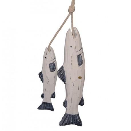 Poisson en bois à suspendre x 2 - bois - haut. 30 cm