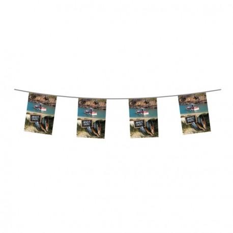 Guirlande Moules frites - 10 fanions de 19 x 30 cm en papier - Long. 400cm