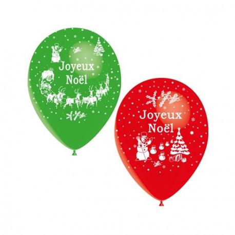 Ballons (vert et rouge) motif ''Joyeux Noel'' x 8 - Diam. 29cm