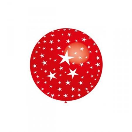 Ballon rouge métal rond motif ''Etoiles'' - Diam. 60 cm