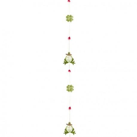 Guirlande grenouilles crépon Long: 180 cm diam : 8 cm