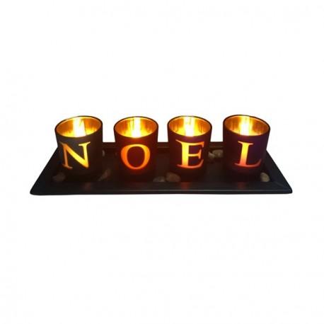 Photophores N. O. E. L. sur plateau bois, avec bougies électroniques - 26 x 7cm