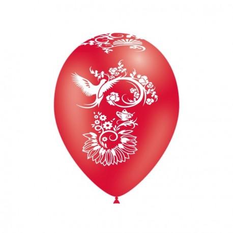 """Ballons rouges motif """" Nouvel an Chinois """"  pochette de 10 - Diam. 29cm"""