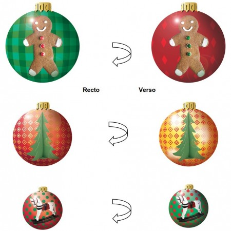 Boules de Noël x 3 motifs - carton RV - D. 40/ 30 / 20 cm