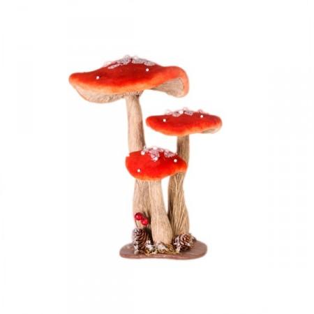 champignon gris et rouge 24x19xh30 cm