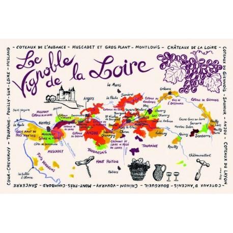 Tissu Imprimé  Carte de Loire  - Coton - 48 x 72 cm