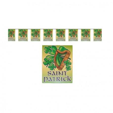 Guirlande St Patrick - 10 fanions 20 x 30 cm - plastique - Long.420 cm