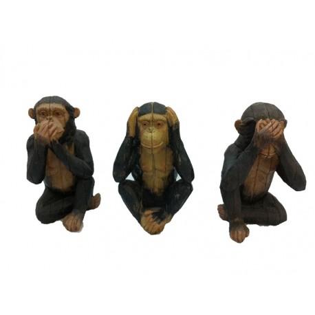 3 singes africains - Résine