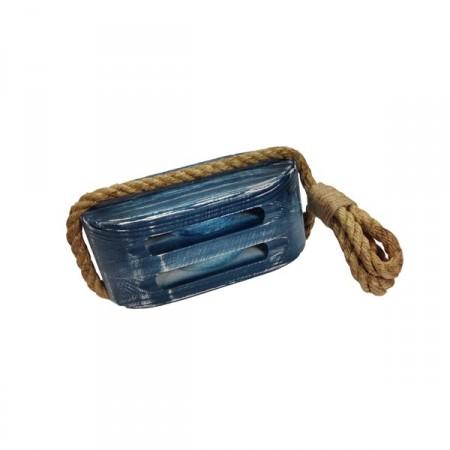 Poulie de bateau - bois/corde - H. 20cm