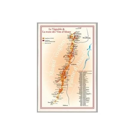 """Tissu Imprimé """"  Route des Vins d'Alsace """" - Coton - 48 x 72 cm"""