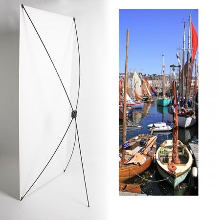 Kakemono Bretagne bateaux - 180 x 80 cm - Toile M1 avec structure  X- Banner