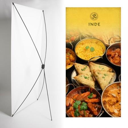 Kakemono Inde plats typiques- 180 x 80 cm - Toile M1 avec structure  X- Banner