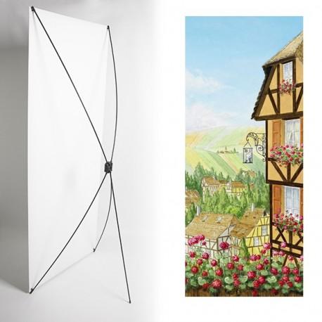 Kakemono alsace maisons  - 180 x 80 cm - Toile M1 avec structure  X- Banner
