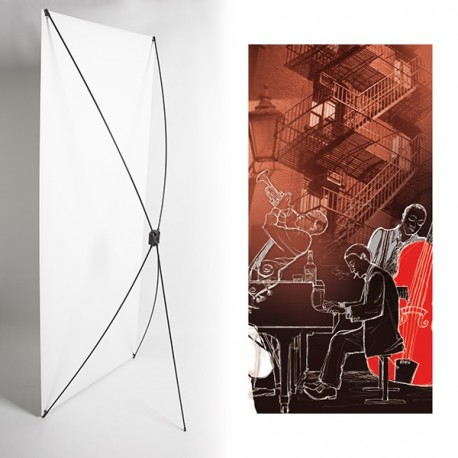 Kakemono Pianiste (droit) - 180 x 80 cm - Toile M1 avec structure  X- Banner