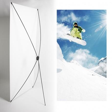 Kakemono Montagne ski - 180 x 80 cm - Toile M1 avec structure  X- Banner