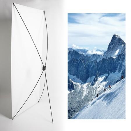 Kakemono Montagne randonnée- 180 x 80 cm - Toile M1 avec structure  X- Banner