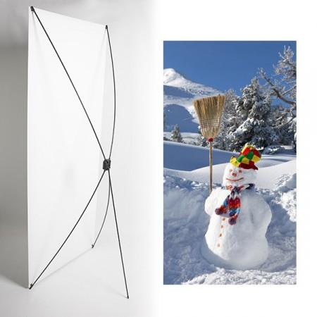 Kakemono Bonhomme de neige - 180 x 80 cm - Toile M1 avec structure  X- Banner